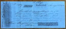 MARCA DA BOLLO SU CAMBIALE HUDDERSFIELD 1870   DI 25 STERLINE   DOCUMENTO ORIGINALE CON FIRME AUTOGRAFE - Cambiali