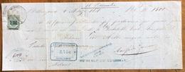 MARCA DA BOLLO SU CAMBIALE BELLINZONA 1871   DI 1500 ITALIANE LIRE    DOCUMENTO ORIGINALE CON FIRME AUTOGRAFE - Cambiali