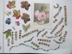 CHROMO DECOUPIS: FLEUR Lot 25 Différents Même Thème - Rose Feuille Collier De Fleurs Décoration... - Flowers