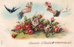 """09 USSAT Les BAINS ORNOLAC """" Souvenir D'Amitié"""" En Relief Brillants - Francia"""