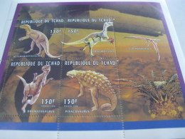 Chad-1996-fauna Flora-prehistoric Animals-dinosaur-MI.1379-82 - Chad (1960-...)