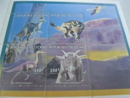 Chad-1996-fauna Flora-prehistoric Animals-dinosaur-MI.1383-86 - Chad (1960-...)