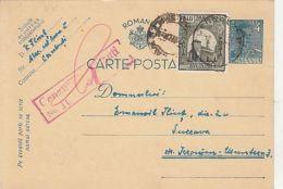 KING MICHAEL, BUKOVINA STAMPS, CENSORED CERNAUTI NR 100, WW2, PC STATIONERY, ENTIER POSTAL, 1941, ROMANIA - 1918-1948 Ferdinand, Carol II. & Mihai I.
