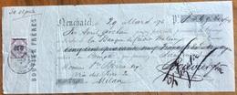 MARCA DA BOLLO  SU CAMBIALE  BOUVIER FRERES DEUCHATEL  1876  DI 549,80 FR. ORO  DOCUMENTO ORIGINALE CON FIRME AUTOGRAFE - Cambiali