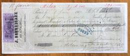 MARCA DA BOLLO V.E.II 60/25 C. SU CAMBIALE  PARIS 1867 DI 305 FR. DOCUMENTO CON FIRME AUTOGRAFE - Cambiali