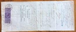 MARCA DA BOLLO V.E.II L.1 SU CAMBIALE SOC,MONTANISTICA TIROLESE  ACHENRAIN 1866 DI 1156,67  LIRE  CON FIRME AUTOGRAFE - Cambiali