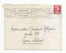 OBLITERATION MECANIQUE SUR LETTRE DE ANNONAY ARDECHE DU 7/11/1956 - Marcophilie (Lettres)