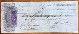 MARCA DA BOLLO V.E.II 25 C. SU CAMBIALE  FRANCOFORTE 1866 DI 391,40 FR. DOCUMENTO  CON FIRME AUTOGRAFE - Cambiali