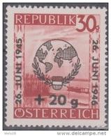 """Österreich 1946:  """"UNO-Tag Der Vereinten Nationen""""  Nr.775x Geriffelt  Postfrisch - 1945-.... 2ème République"""