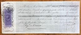 MARCA DA BOLLO V.E.II 50 C. SU CAMBIALE  MILANO 1865 DI 700 FR, ORO  DOCUMENTO  CON FIRME AUTOGRAFE - Cambiali