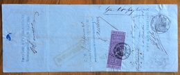 MARCA DA BOLLO V.E.II 15 C.SU CAMBIALE PARIS 1865 DI 193,60 FR,  DOCUMENTO  CON FIRME AUTOGRAFE - Cambiali