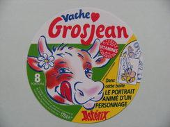 Etiquette Fromage Fondu - Vache Grosjean - 8 Portions Pub Portrait Astérix Goscinny-Uderzo  A Voir ! - Fromage