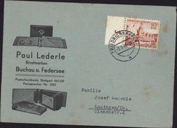 Allemagne Enveloppe Illustrée Paul Derle Briefmarken Buchau A Federsee YT 665 Foire De Printemps Leipzig Bord De Feuille - Allemagne