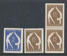 Sweden 1949 Facit # 388-389,  Set Of 4, Incl. BB-pair, Second Lingiad, See Scann, MNH (**) - Sweden