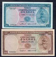 Timor Lisboa 25 Abril 1963 100 + 50 24 10 1967 Escudos About Unc Q.fds Da Mazzetta Lotto 029 - Timor