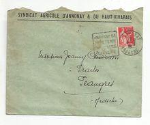 DAGUIN SUR LETTRE A EN TETE DE ANNONNAY ARDECHE DU 9/6/1938 - Marcophilie (Lettres)