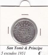 SAO TOME' & PRINCIPE   5 ESCUDOS  ANNO 1951  COME DA FOTO - Sao Tome Et Principe