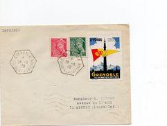 Enveloppe 1939 Cachet Hexagonal Foire De Grenoble + Vignette Concordante - Marcophilie (Lettres)
