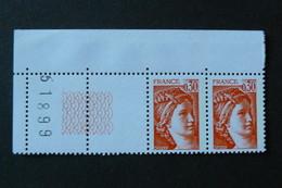 France - Sabine De Gandon - Yvert N° 1968 X2 Neufs ** (MNH) - Coin De Feuille Avec Guillochis - 1977-81 Sabine Van Gandon