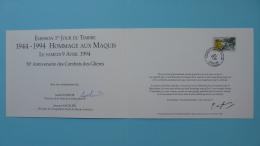 Encart FDC Folder Résistance Maquis Des Glieres 74 Haute Savoie 1994 - 2. Weltkrieg