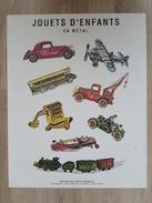 Affiche - Jouets D'enfants En Métal - Avion, Side Car, Train, Grue, Auto, Bateau  Collection De 1995 Edition Du Désastre - Affiches