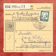 Paketkartenteil, EF Beethoven, Landpoststempel Jungnau Ueber Sigmaringen, Nach Ulm 1962 (41635) - Covers & Documents