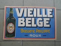 Pub Brasserie Philippe Roux Brouwerij Brewery Advertising Carton Bière Vieille Belge Bier - Paperboard Signs