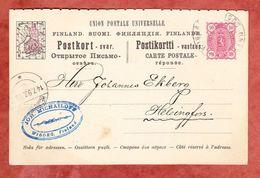P 25 A Wappen, Wiborg Nach Helsingfors, AK-Stempel 1893 (41637) - Entiers Postaux
