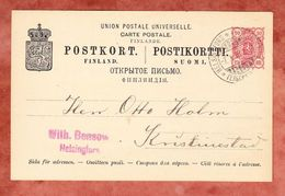 P 27 Wappen, Helsingfors Nach Kristinestad, AK-Stempel 1898 (41638) - Entiers Postaux