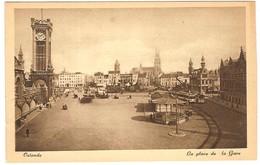 Prentkaart Ostende Oostende Place De La Gare Onbeschreven - Oostende