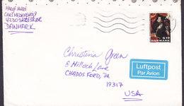 Denmark LUFTPOST Par Avion Label SKÆLSKØR 1988 Cover Brief CHADDS FORD, USA King König Christian IV. Stamp - Briefe U. Dokumente