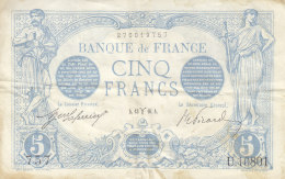 Billet 5 F Bleu Du 13-3-1916 FAY 2.37 Alph. U.10801 1 Seul épinglage - 1871-1952 Circulated During XXth