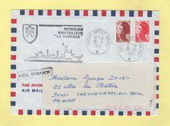 Guerre Du Golfe - Petrolier Ravitailleur LA DURANCE - Brest Naval - 19-3-1991 - Postmark Collection (Covers)