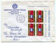 141> ITALIA 1969 - Busta FEDERAZIONE PUGILISTICA ITALIANA - Affrancatissima Con QUARTINA Spedita Ad ALESSANDRO MAZZINGHI - 6. 1946-.. Repubblica