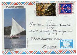 """Nlle Calédonie--1984--Lettre  Pour Auxerre-89 - Composition De Tps  Sur Lettre--env Illustrèe """"Piroque Mélanésienne"""" - Briefe U. Dokumente"""