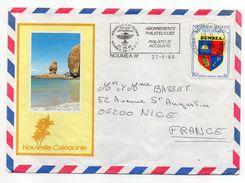 Nlle Calédonie-1988-Lettre  Pour NICE-06 - Tp Blason DUMBEA Seul Sur Lettre--env Illustrée -cachet NOUMEA RP - Briefe U. Dokumente