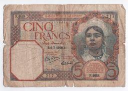 Billet/ Banque De L'Algérie/ Cinq Francs  / 1940        BILL153 - Algeria