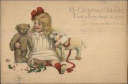 Christmas - Little Girl & Teddy Bear C1915 Postcard - Wensen En Feesten