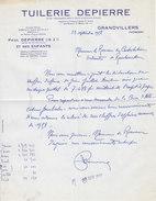 Paul Depierre ,tuilerie à Grandvillers , Vosges ,courrier De 1958 - 1950 - ...