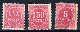 Impuesto De Guerra, Color Rosa, 1 Pta, 1,50 Pts & 5 Pts - Fiscales