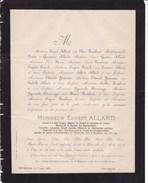 LAEKEN Ernest ALLARD Député échevin 1878 Vénérable Loge Maçonnique Vrais Amis De L'Union Et Du Progrès Réunis Faire-part - Todesanzeige