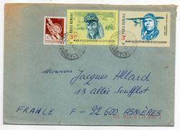 Roumanie-1986-Lettre De CLUJ-NAPOCA Pour ASNIERES-92(France)-Composition Timbres(aviateurs.Lindberg+Hillary)-cachet CLUJ - 1948-.... Républiques