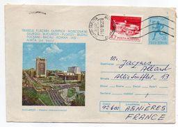 Roumanie-1985-CLUJ-NAPOCA Pour ASNIERES-92(France)-Entier Hotel Continental Bucaresti  JO Moscou + Timbres-cachet CLUJ - 1948-.... Republics