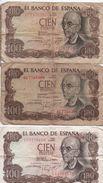 3 Billets / Espagne / El Banco De Espana/ Cien Pesetas /1970     BILL162 - [ 3] 1936-1975 : Regency Of Franco