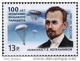 Russia 2012 Inventor Of The Knapsack Parachute Gleb Kotelnikov 1v MNH - Airships