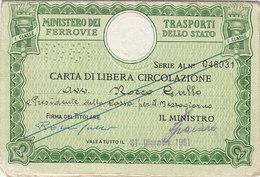 FERROVIE DELLO STATO / CARTA DI LIBERA CIRCOLAZIONE _ PERFIN 1961 - Europa