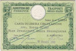 FERROVIE DELLO STATO / CARTA DI LIBERA CIRCOLAZIONE _ PERFIN 1962 - Europa