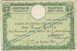 FERROVIE DELLO STATO / CARTA DI LIBERA CIRCOLAZIONE _ PERFIN 1954 - Europa