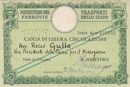 FERROVIE DELLO STATO / CARTA DI LIBERA CIRCOLAZIONE _ PERFIN 1955 - Europa