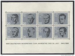 Deutschland BRD Bund 1964 Dem Deutschen Widerstand 20.Juli 1944 Block 3 ** Postfrisch MNH LUXUS Mi. 431-438 Yv Bloc BF 2 - Blocchi